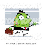 Stock Cartoon of a Green Monster with Yellow Spots by Hit Toon