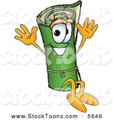 Stock Cartoon of a Green Rolled Carpet Mascot Cartoon Character Sitting and Waving His Hands by Toons4Biz