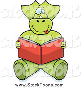 Stock Cartoon of a Green Triceratops Sitting and Reading by Cory Thoman