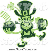 October 13th, 2014: Stock Cartoon of a Green Two Toned Leprecaun Holding a Beer and Pot of Gold by Zooco