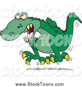 Stock Cartoon of a Green Tyrannosaurus Rex Throwing a Temper Tantrum by Toonaday