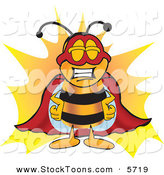 Stock Cartoon of a Grinning Bee Mascot Cartoon Character Dressed As a Super Hero by Toons4Biz