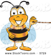 Stock Cartoon of a Grinning Bee Mascot Cartoon Character Holding a Pointer Stick by Toons4Biz