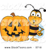 Stock Cartoon of a Grinning Bee Mascot Cartoon Character with a Carved Halloween Pumpkin by Toons4Biz