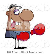 Stock Cartoon of a Grinning Boxer with Black Eye by Hit Toon