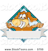 Stock Cartoon of a Grinning Brown Dog Mascot Cartoon Character with Open Arms over a Blank White Label by Toons4Biz