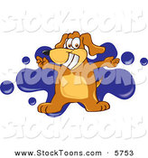 Stock Cartoon of a Grinning Brown Dog Mascot Cartoon Character with Open Arms over a Blue Splatter by Toons4Biz