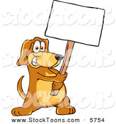 Stock Cartoon of a Grinning Brown Pet Dog Mascot Cartoon Character Holding a Blank White Sign by Toons4Biz