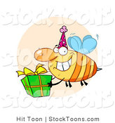 Stock Cartoon of a Grinning Bumbe Bee with a Present by Hit Toon