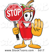 Stock Cartoon of a Grinning Chili Pepper Mascot Cartoon Character Holding a Stop Sign by Toons4Biz