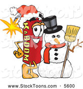 Stock Cartoon of a Grinning Dynamite Mascot Cartoon Character with a Snowman on Christmas by Toons4Biz