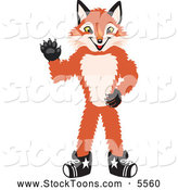 Stock Cartoon of a Grinning Fox Mascot Cartoon Character Waving by Toons4Biz