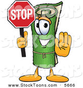 Stock Cartoon of a Grinning Green Carpet Mascot Cartoon Character Holding a Stop Sign by Toons4Biz