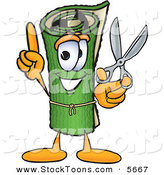 Stock Cartoon of a Grinning Green Carpet Mascot Cartoon Character Holding Scissors by Toons4Biz