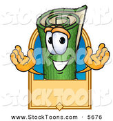 Stock Cartoon of a Grinning Green Carpet Mascot Cartoon Character with a Blank Tan Label by Toons4Biz