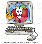 Stock Cartoon of a Grinning Happy Red Apple Character Mascot on a Desktop Computer Screen by Toons4Biz