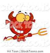 Stock Cartoon of a Grinning Yellow Eyed Red Devil by Hit Toon