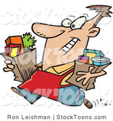 Stock Cartoon of a Grocery Store Employee Carrying Groceries by Ron Leishman