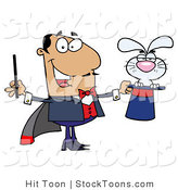 Stock Cartoon of a Grumpy Bunny and Magician by Hit Toon