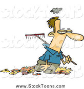 Stock Cartoon of a Grumpy Caucasian Man Raking Autumn Leaves by Toonaday