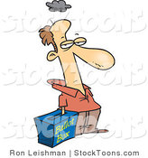 Stock Cartoon of a Grumpy Voter with His Hand in a Ballot Box by Toonaday