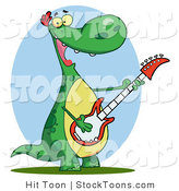 Stock Cartoon of a Guitarist Dinosaur by Hit Toon