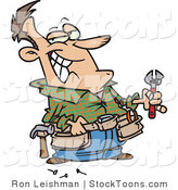 Stock Cartoon of a Handy Man Holding Tools by Ron Leishman