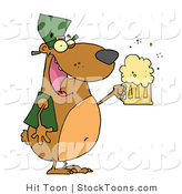 Stock Cartoon of a Happy and Intoxicated Bear by Hit Toon