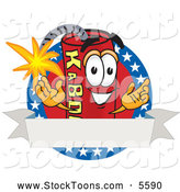 Stock Cartoon of a Happy and Outgoing Dynamite Mascot Cartoon Character with Stars and a Blank Ribbon Label by Toons4Biz