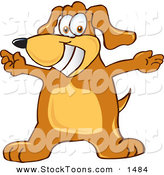 Stock Cartoon of a Happy and Smiling Brown Dog Mascot Cartoon Character with Open Arms by Toons4Biz