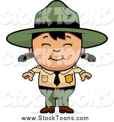 Stock Cartoon of a Happy Asian Forest Ranger Girl Smiling by Cory Thoman
