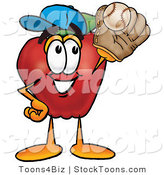 Stock Cartoon of a Happy Athletic Red Apple Character Mascot Catching a Baseball with a Glove by Toons4Biz