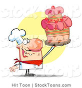 Stock Cartoon of a Happy Bakery Chef Holding up a Cake by Hit Toon