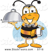Stock Cartoon of a Happy Bee Mascot Cartoon Character Dressed As a Servant, Carrying a Food Platter by Toons4Biz