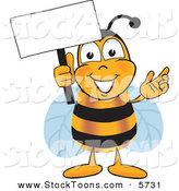 Stock Cartoon of a Happy Bee Mascot Cartoon Character Holding a Blank White Sign by Toons4Biz