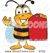 Stock Cartoon of a Happy Bee Mascot Cartoon Character Holding a Red Clearance Sales Tag by Toons4Biz