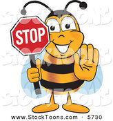 Stock Cartoon of a Happy Bee Mascot Cartoon Character Holding His Hand out and a Red Stop Sign by Toons4Biz