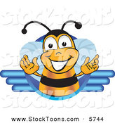 Stock Cartoon of a Happy Bee Mascot Cartoon Character Logo by Toons4Biz