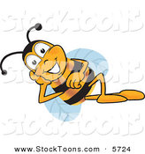 Stock Cartoon of a Happy Bee Mascot Cartoon Character Resting His Face on His Hand by Toons4Biz