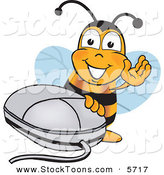 Stock Cartoon of a Happy Bee Mascot Cartoon Character with a Computer Mouse by Toons4Biz