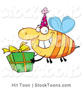 Stock Cartoon of a Happy Birthday Bee by Hit Toon