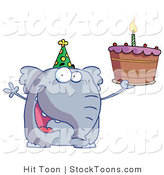 Stock Cartoon of a Happy Birthday Elephant by Hit Toon