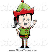 Stock Cartoon of a Happy Black and White Waving Christmas Elf Girl by Cory Thoman