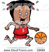 Stock Cartoon of a Happy Black Basketball Girl Dribbling a Ball by Cory Thoman
