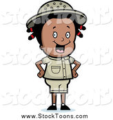 Stock Cartoon of a Happy Black Safari Girl Smiling and Standing with Her Hands on Her Hips by Cory Thoman