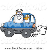 Stock Cartoon of a Happy Blimp Mascot Cartoon Character Driving a Blue Car and Waving by Toons4Biz