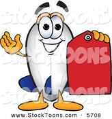 Stock Cartoon of a Happy Blimp Mascot Cartoon Character Holding a Red Clearance Price Tag by Toons4Biz