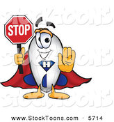 Stock Cartoon of a Happy Blimp Mascot Cartoon Character Holding a Stop Sign with His Arm out in Front by Toons4Biz