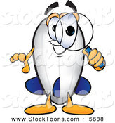 Stock Cartoon of a Happy Blimp Mascot Cartoon Character Looking Through a Magnifying Glass by Toons4Biz