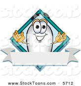 Stock Cartoon of a Happy Blimp Mascot Cartoon Character with a Blank Ribbon Label by Toons4Biz